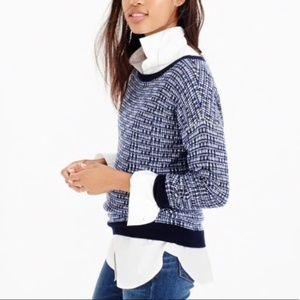 J. CREW Metallic Blue Pullover Wool Sweater